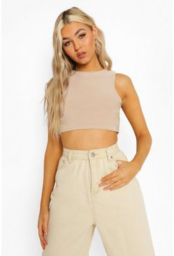 Taupe beige Tall Slinky Racer Neck Super Crop Top