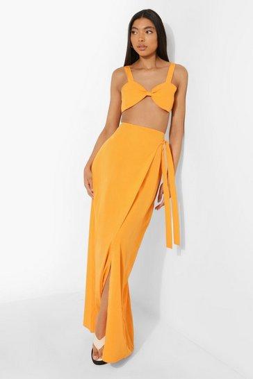 Orange Tall Knot Bralet Wrap Tie Side Maxi Co-ord