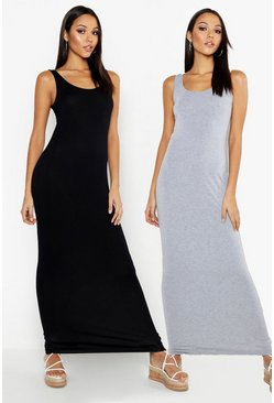 Grey marl grey Tall Scoop Maxi Dress 2 Pack
