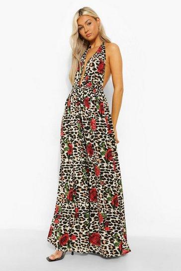 Stone beige Tall Leopard Rose Halter Plunge Maxi Dress