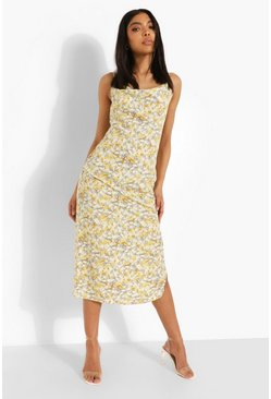 Mustard yellow Tall Floral Cowl Midi Slip Dress