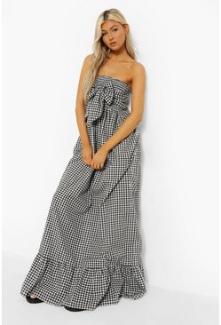 Tall Gingham Knot Front Maxi Dress, Black nero