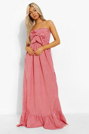 Red Tall Gingham Knot Front Maxi Dress