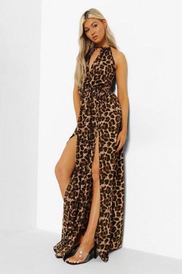 Stone beige Tall Leopard Backless Maxi Dress