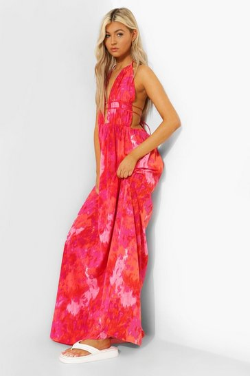 Coral pink Tall Tie Dye Plunge Front Maxi Dress