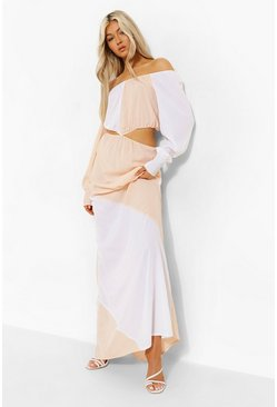 Stone Tall Colourblock Cut Out Maxi Dress