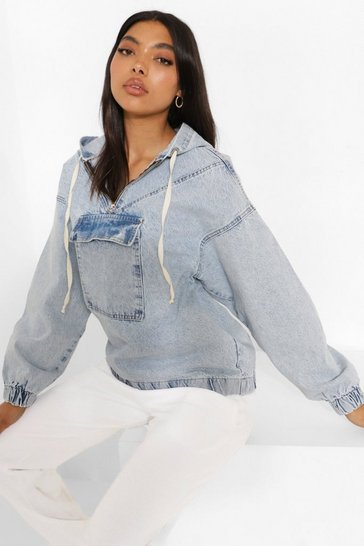 Vintage wash blue Tall Hooded Pull Over Denim Jacket