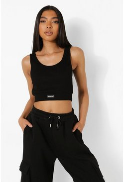 Black Tall Premium Rib Crop Top