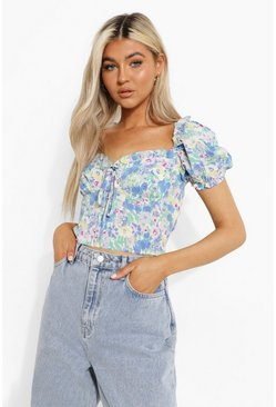 Blue Tall Woven Floral Print Puff Sleeve Crop Top