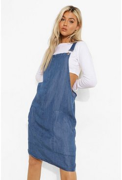 Tall Chambray Dungaree Dress, Mid blue azzurro