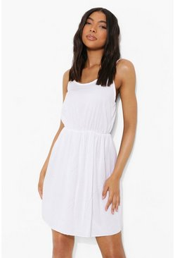 Tall Basic Denim Cami Dress, White bianco