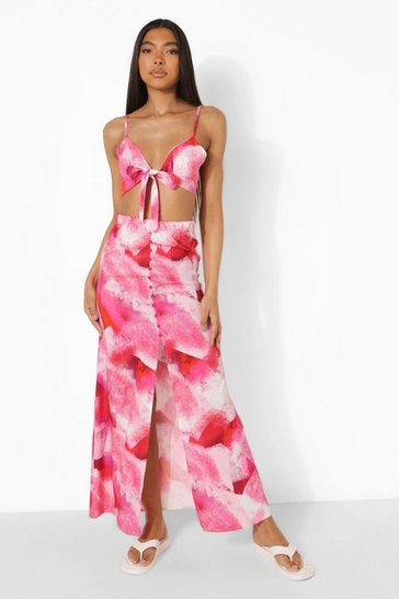 Pink Tall Abstract Print Top And Maxi Skirt Co-ord