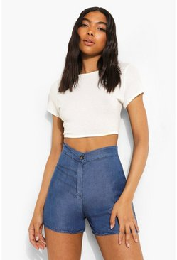 Mid blue Tall Fitted Button Front Denim Shorts