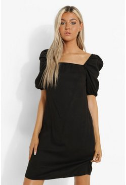Black Tall Puff Sleeve Denim Mini Dress