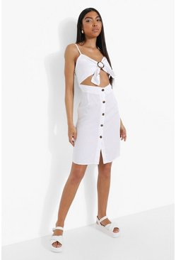 Vestito Tall in denim con fibbia e cut-out frontale, White bianco
