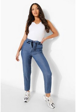 Mid blue Tall Cropped Belted Paperbag Chambray Trouser