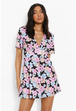 Black Tall Floral Printed Mini Dress