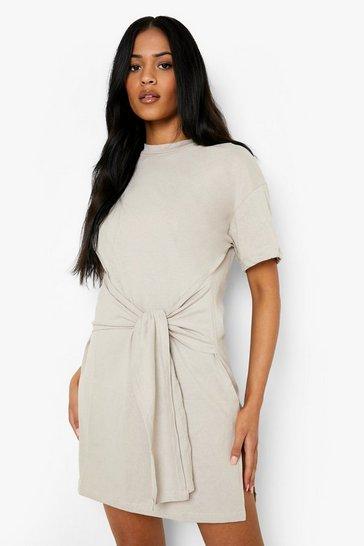 Stone beige Tall Tie Waist Detail T-shirt Dress