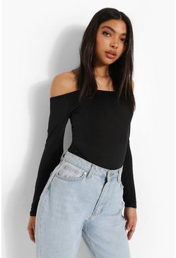 Black Tall Slinky Off The Shoulder Bodysuit