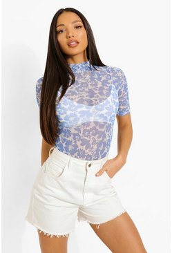 Blue Tall Mesh Floral Print Short Sleeve Bodysuit