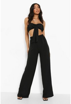 Black Tall Linen Look Tie Bandeau Trouser Co-ord