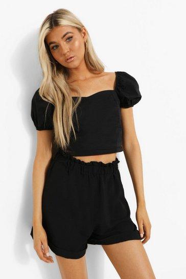 Black Tall Linen Look Full Shorts