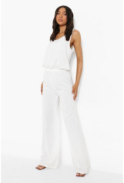Tall Linen Look Scoop Wide Leg Jumpsuit, White blanco