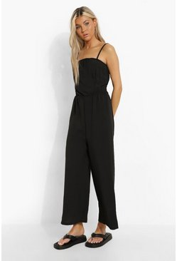 Black Tall Linen Look Cami Culotte Jumpsuit