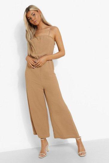 Camel beige Tall Linen Look Cami Culotte Jumpsuit