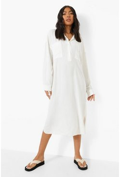 White Tall Linen Look Midi Shirt Dress