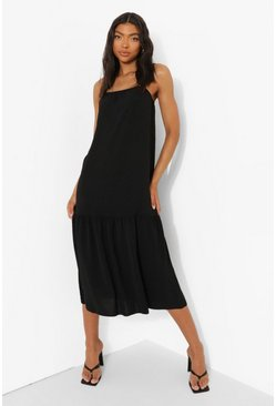 Black Tall Linen Look Strappy Midi Smock Dress