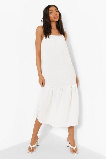White Tall Linen Look Strappy Midi Smock Dress