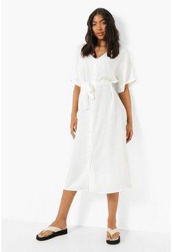White Tall Linen Look Belted Midi Dress
