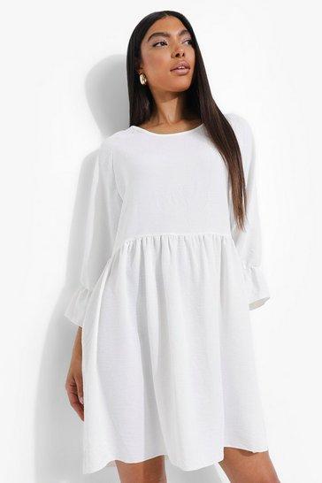 White Tall Linen Look Boxy Smock Dress