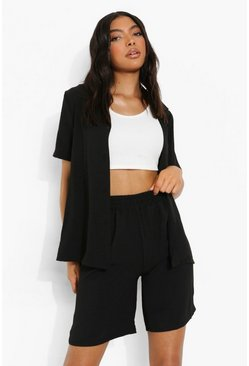 Black Tall Linen Look Longline Tailored Shorts