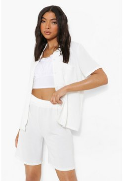 Tall Linen Look Longline Tailored Shorts, White bianco