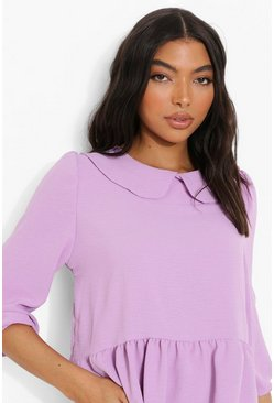 Lilac purple Tall Linen Look Collar Smock Top