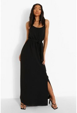 Black Tall Linen Look Belted Split Maxi Dress