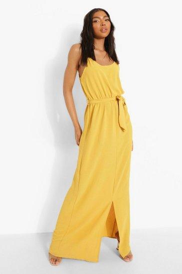 Mustard yellow Tall Linen Look Belted Split Maxi Dress