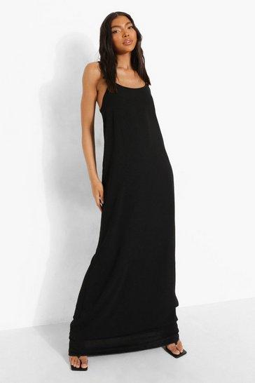 Black Tall Linen Look Caged Back Maxi Dress