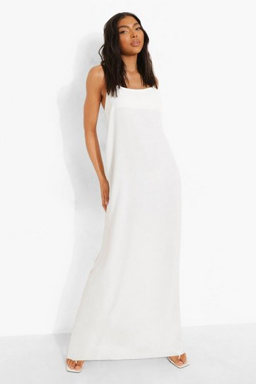 White Tall Linen Look Caged Back Maxi Dress