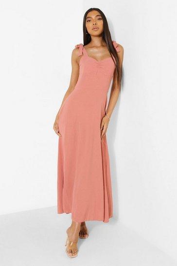 Rose pink Tall Linen Look Corset Tie Maxi Dress