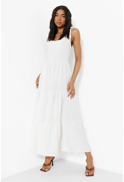 White Tall Linen Look Tie Strap Midaxi Dress