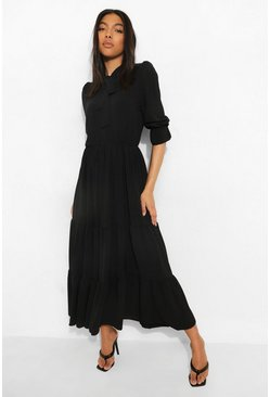Tall Linen Look Tie Neck Midaxi Dress, Black negro