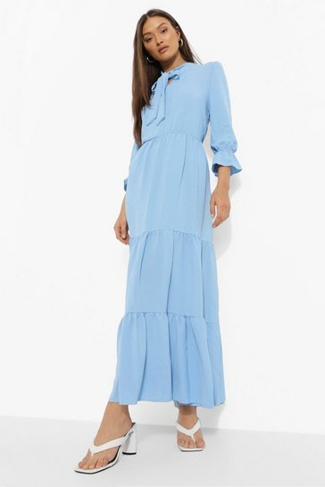 Blue Tall Linen Look Tie Neck Midaxi Dress