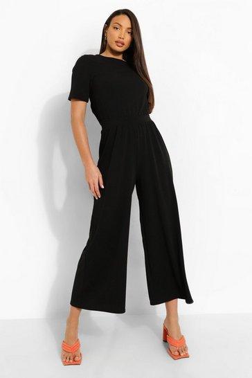 Black Tall Open Back Culotte Jumpsuit