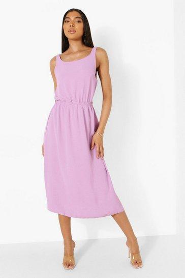 Lilac purple Tall Linen Look Open Back Midi Dress