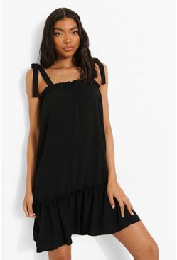 Black Tall Linen Look Tie Strap Smock Dress