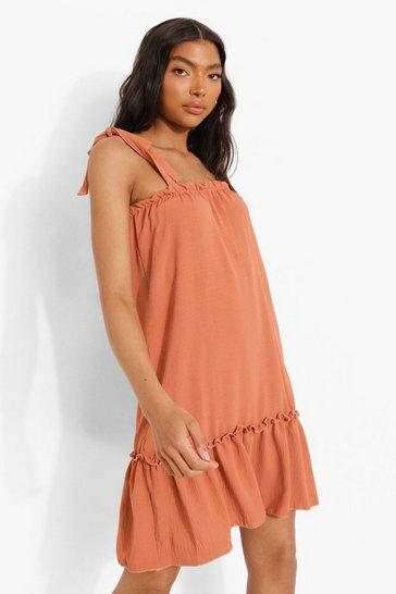 Rust orange Tall Linen Look Tie Strap Smock Dress