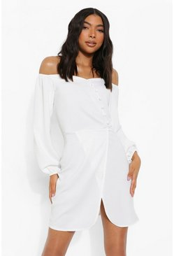 White Tall Linen Look Button Bardot Mini Dress